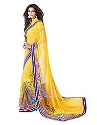 Indian Designer Sari Beautiful Floral Printed Faux Georgette Saree By Triveni