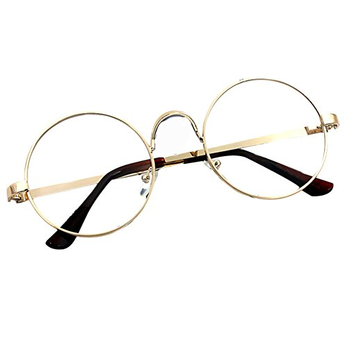 Weixinbuy Womens Plain Glasses Full Rim Metal Frame Spectacles Gold