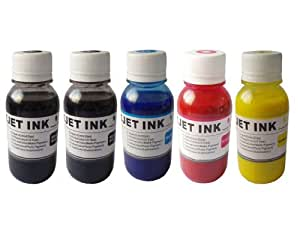 Anti-UV Sublimation Ink for Epson(non-OEM) Workforce 30, Workforce 310, Workforce 315, Workforce 1100, Stylus C120 Printer Refillable Cartridges, CISS / Heat Transfer Printing, 500ml - Black, Black, Cyan, Magenta, and Yellow