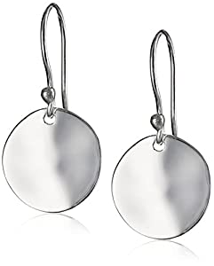 Argento Vivo Sterling Silver Wavy Textured High Polished Disk Earrings