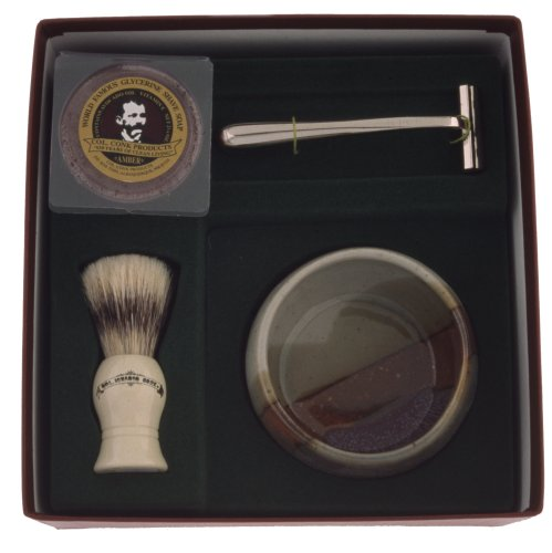 Colonel Conk Model 232 Santa Fe Shave Cup, Deluxe Boar Brush, Chrome Razor, and Soap