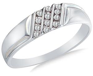 Size 4 - 10k White Gold Diamond MENS Wedding Band OR Fashion Ring - w/ Channel Set Round Diamonds - (1/8 cttw)