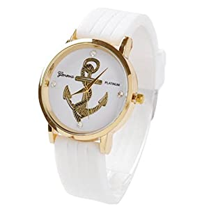 Willtoo® Unisex Anchors Silicone Analog Quartz Wrist Watch White