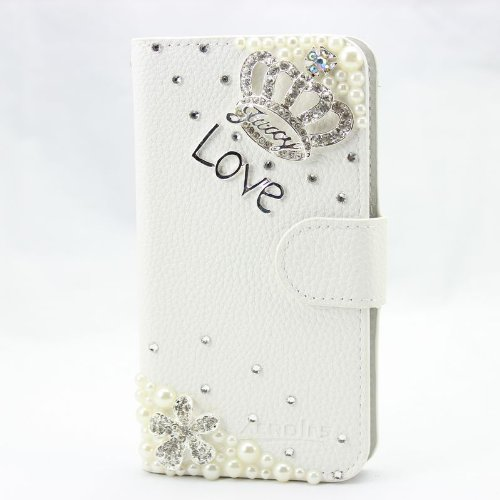 piaopiao fashion 3d bling leather wallet card flip Case Cover Skin For Samsung Galaxy S Blaze 4G T769 crown silver