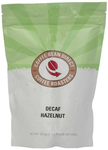 Coffee Bean Direct Decaf Hazelnut Flavored, Whole Bean Coffee, 16-Ounce Bags (Pack of 3)