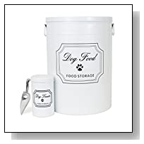 3-Piece Galvanized Steel Dog Food Container Set - 40 lbs White