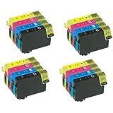 4 séries x 16X cartouches haute capacité compatible pour une utilisation avec Epson WorkForce WF 2010W, WF 2510WF, WF 2520NF, WF 2530W Remplace T1636 T1631 T1632 T1633-T1634 Series 16XL Noir OEM NON