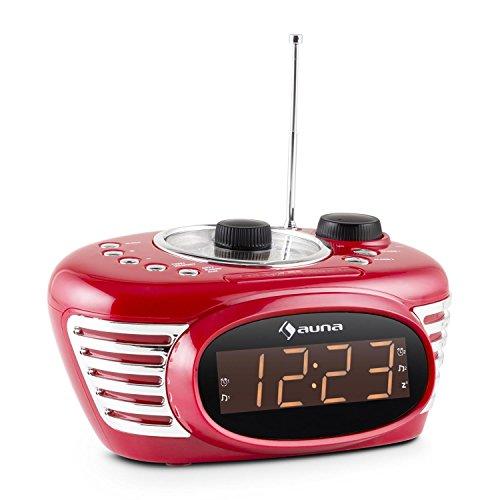 Auna RCR 56 digitaler Retro Radiowecker Nachttisch Wecker mit 2 Weckzeiten (UKW Tuner, AUX, Dual Alarm, Wecksignal via Radio oder Piepton, Snooze, Sleeptimer) rot