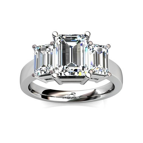 Palladium This Past Present And Future Ring For Emerald Cut Diamonds Uses Basket Style Settings To Showcase The Diamond'S Brilliance 2 Ctw