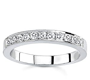 Platinum Milgrain Pave-Set Diamond Band (G/VS2, 1/4 ct. tw.)