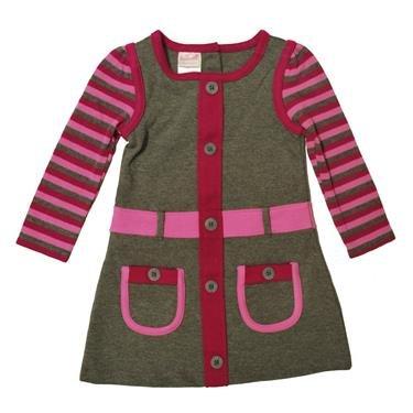 Nannette Little Girls' 1 Piece Comfort Stripped Sleeve Dress, Gray, 2T