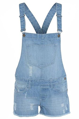 Ladies Stretchable Braces Dungaree Shorts Light Wash UK 12