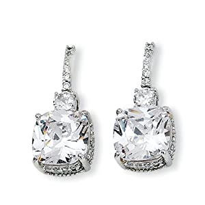 Sterling Silver Square CZ Post Earrings
