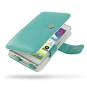 Samsung Galaxy S WiFi 4.2 Leather Case - Galaxy Player 4.2 YP-GI1 - Book Type (Aqua) by PDair