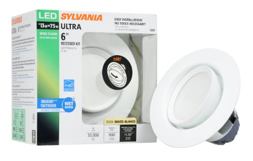 Sylvania 72369 Ultra Led 6-Inch Recessed Downlight Kit With 35-Degree Tilt Gimbal