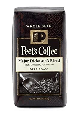 Peet's Coffee, Major Dickason's Blend, Whole Bean Coffee, 12oz Bag (Pack of 2)