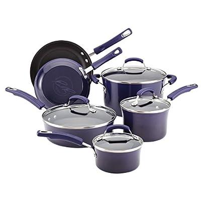 Food Network Cookware Set RACHAEL RAY Premium Nonstick Porcelain Enamel Cookware 10 Piece, Purple, Glass Lid