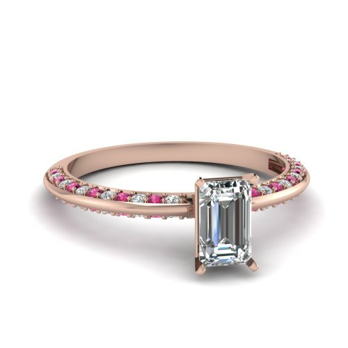 Fascinating Diamonds 1.20 Ct Emerald Cut Diamond Knife Edge Style Engagement Ring W Pink Sapphire 14K Gia