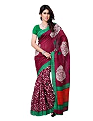 101cart Wine Color Art Silk Party Wear Saree