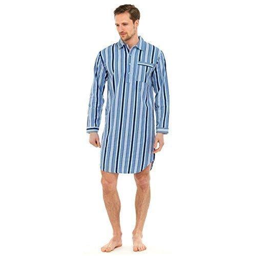 Herren Nachthemd Traditioneller Flanell Schlafanzug Pyjama Aus Baumwolle - Hellblau, M