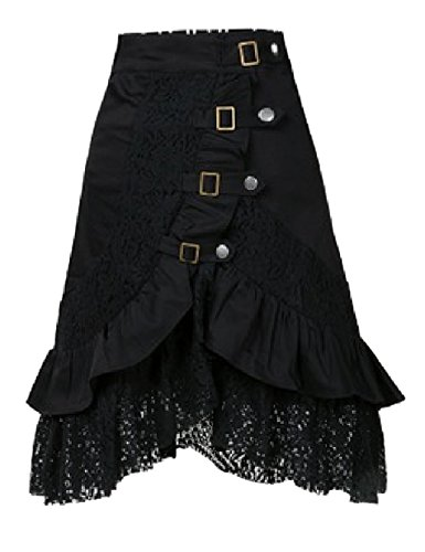 Tanming-Womens-Black-Punk-Style-Lace-Hem-Medium-Skirts