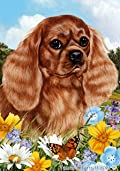 Cavalier King Charles Ruby Dog - Tamara Burnett Summer Flowers Outdoor Garden Flag 12'' x 17''