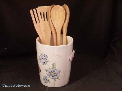 LENOX BUTTERFLY MEADOW CROCK W/ WOODEN UTENSILS - Buy LENOX BUTTERFLY MEADOW CROCK W/ WOODEN UTENSILS - Purchase LENOX BUTTERFLY MEADOW CROCK W/ WOODEN UTENSILS (LENOX - BUTTERFLY MEADOW COLLECTION - Made in Not, Home & Garden, Categories, Kitchen & Dining, Tableware)