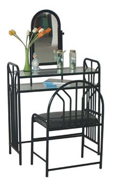 Sturdy Black Metal Vanity With Table & Bench Set Adjustable Mirror