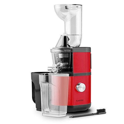 Klarstein-Fruitberry-Entsafter-Saftpresse-Slow-Juicer-Edelstahl-Gehuse-vertikal-400W-fr-frische-Vitamindrinks-60Umin-Einfllrohr--85cm-2-x-1L-Behlter-Edelstahl-Mikrosieb-Rot
