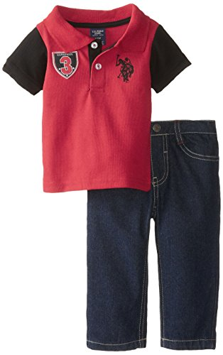 U.S. Polo Assn. Baby-Boys Infant Solid Polo With Contrast Color Sleeves And Denim Jean Set, Engine Red, 12 Months