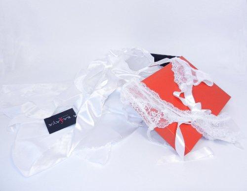 Sexy Lingerie Elia/Vipa 3pc Robe, Ribbon Suspender Belt, Pants White Gift Set S/M (UK 6-10) Gift Boxed - Great Gift Idea