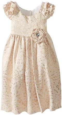 Laura Ashley London Little Girls' Brocade Flutter Sleeve Dress, Gold, 6X