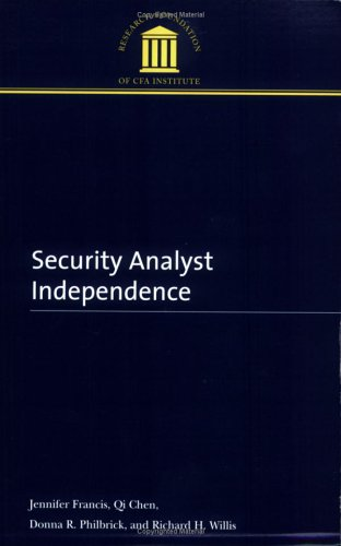 Image for SECURITY ANALYST INDEPENDENCE