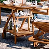 Haste Garden Riviera Two Deck Serving Trolley Brown Finish with 4 Wine Bottle Storage