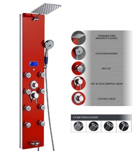 AKDY Tempered Glass Shower Panel Az787392r/22 Rain Style Massage System.