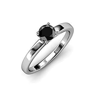 Black Diamond Solitaire Ring 0.95 ct in 14K White Gold.size 6