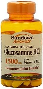 Sundown Naturals Naturals, Glucosamine, 1500 mg,  60 Capsules,  (Pack of 2)