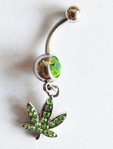 Acciaio chirurgico 316L, colore: verde foglie di acero-Piercing ombelico con barra per bilanciere Body Jewelry