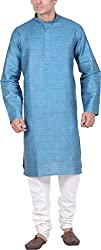 Kisah Men's Cotton Linen Kurta (KA-S-071-44_Green_44)