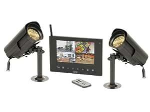 SCS SEN4139385 Kit vidéo surveillance avec moniteur 17 cm/fonction enregistrement + 2 Caméras Portée 100 m