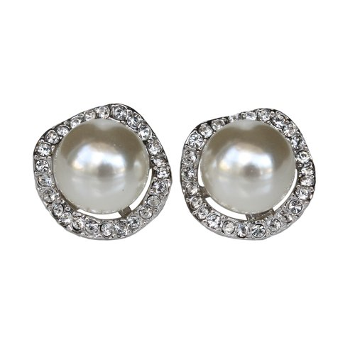 Fashion Plaza 18k White Gold Plated Use Swarovski Crystal Pearl Stud Earring E50