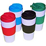 Reusable Travel Mug Hot Cold Non Slip Grip Screw Lid Flip Open Cap Prevents Leaks and Spills comes 4 in a Pack assorted colors