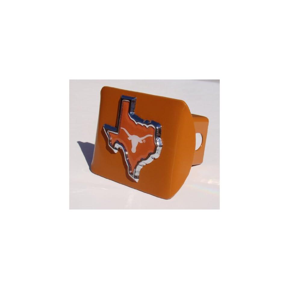 Texas Longhorns Orange Metal Trailer Hitch Cover with Texas Shape Emblem