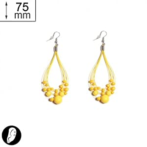sg paris women earrings fish hook yellow plastic