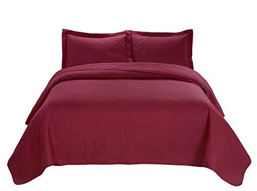 3 Piece JULES Ultrasonic Embossed Bedspread Set-Oversized Coverlet 100x106in, 118x106in (King, Burgundy) King
