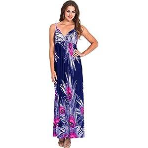 Peacock Feather Print Maxi Dress Junior Plus Size, XL, Navy