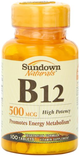 Sundown Naturals Vitamin B12, 500 Mcg, High Potency, Tablets, 100 Tablets