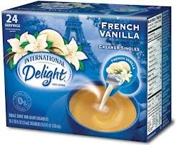 International Delight, French Vanilla, Non-Dairy Cremer, 24-count Creamer Singles (Pack of 3)