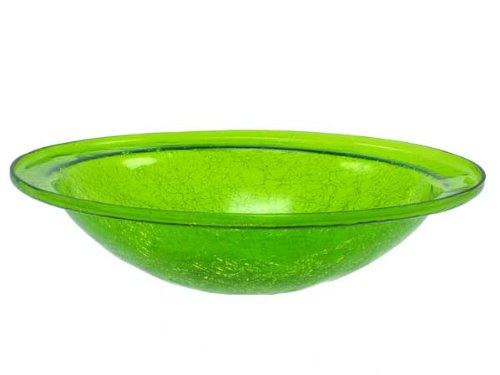 Achla CGB-05FG Crackle Glass Birdbath Bowl, Fern Green