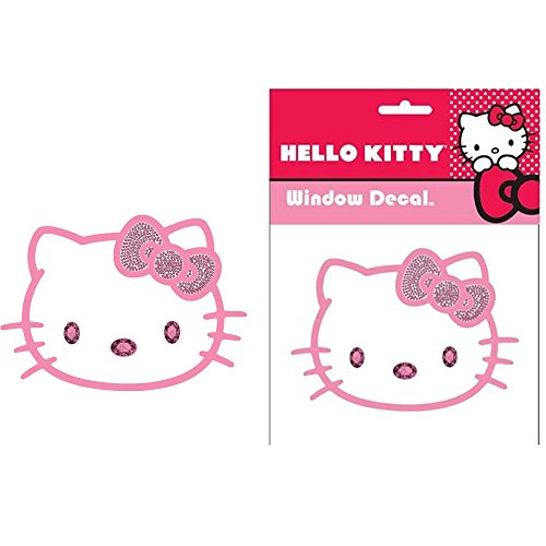 Hello-Kitty-Sanrio-Face-Head-with-Pink-Bow-and-Pink-Gem-Crystals-Car-Truck-SUV-Home-Office-Window-Decal-Sticker-Cling-Bling